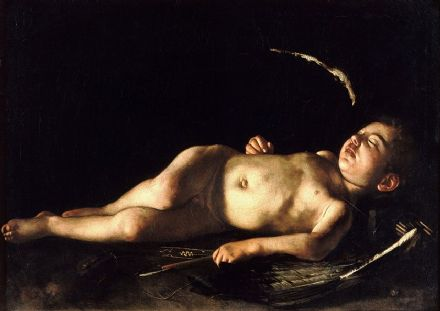 Caravaggio, Michelangelo Merisi da: Sleeping Cupid. Fine Art Print/Poster. Sizes: A4/A3/A2/A1 (002092)
